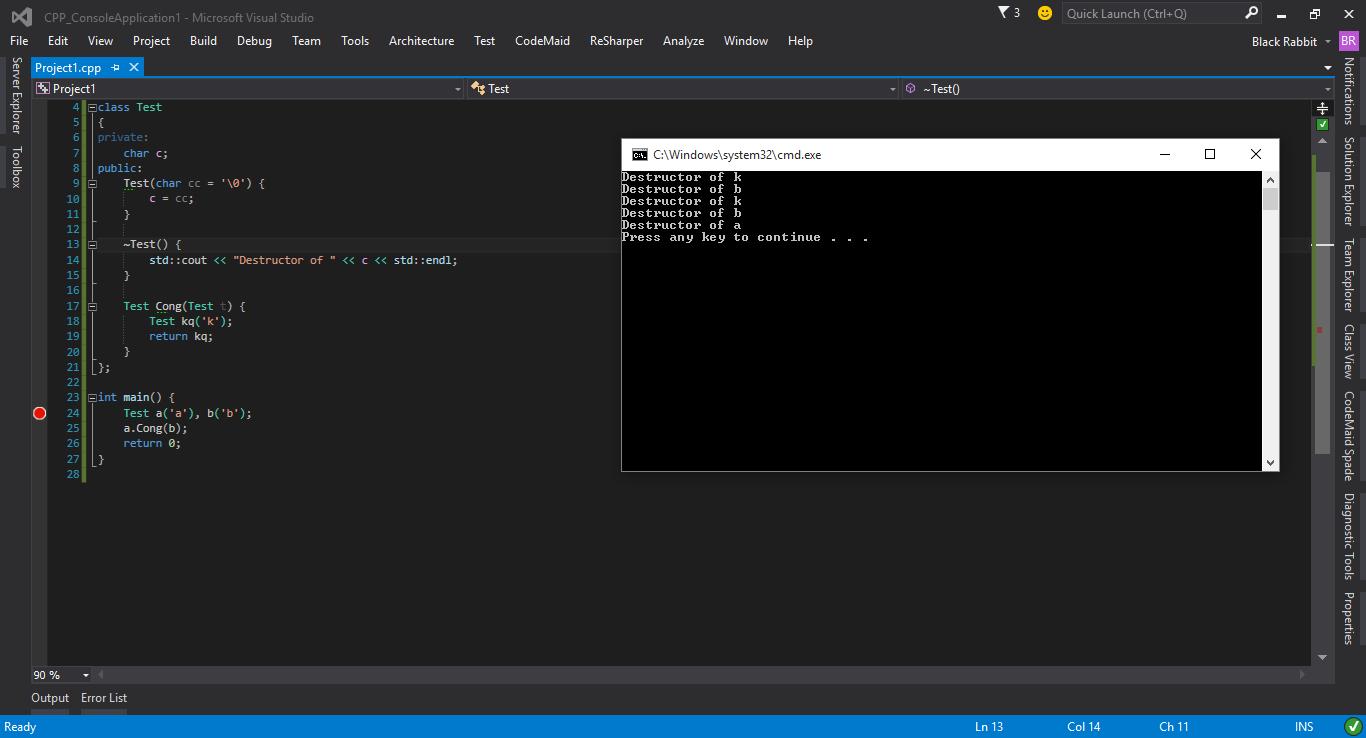 Khác nhau về Destructor trong C++ giữa Code::Blocks và Visual Studio - programming - Dạy Nhau Học