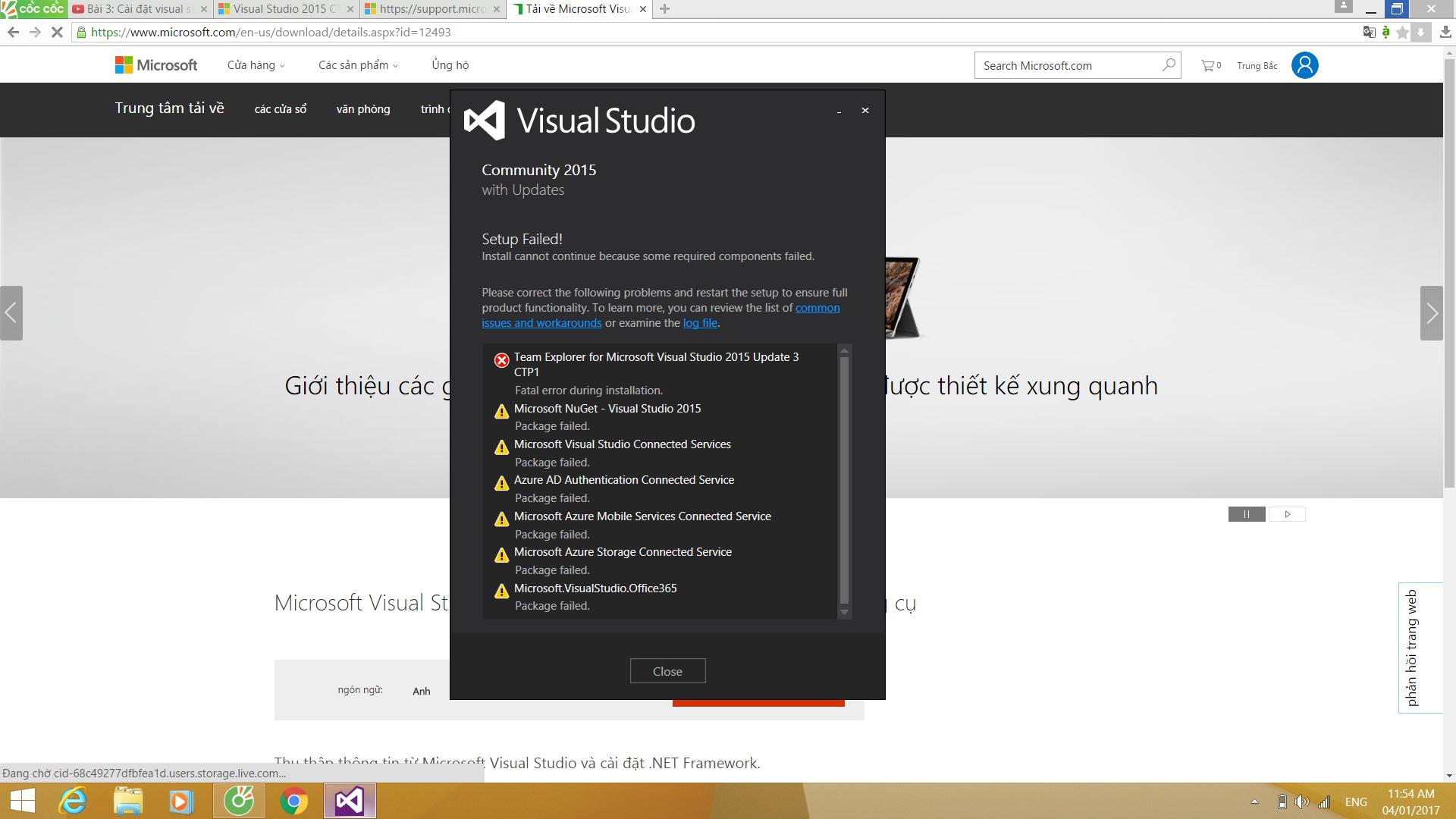 Cài đặt Visual Studio Community 2015 bị lỗi - randomq - Dạy