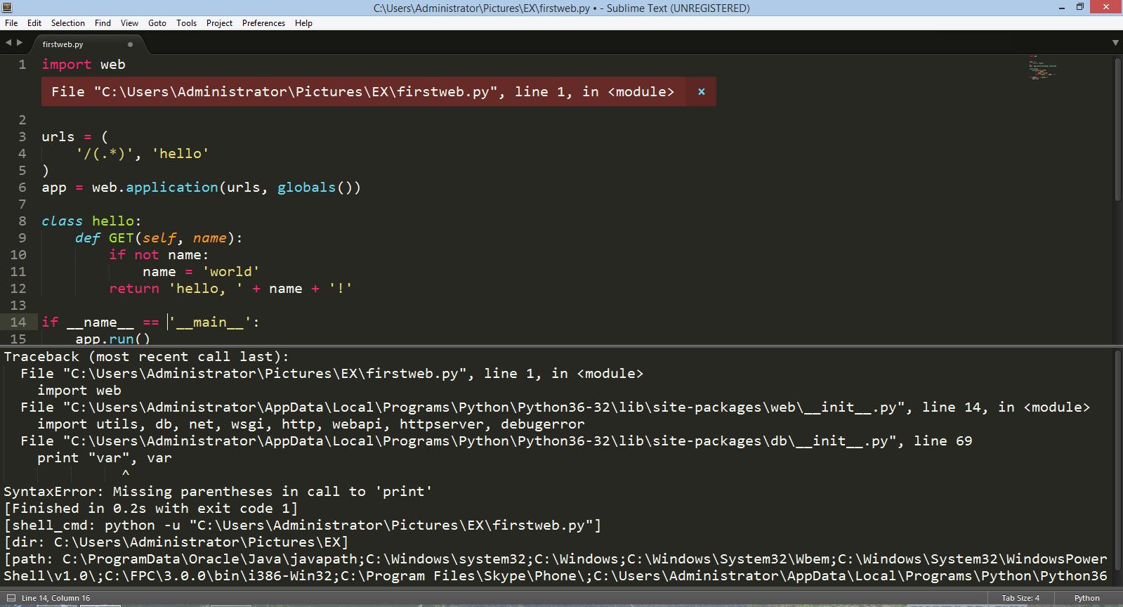 Về Python  import web không hoạt động - programming - Dạy